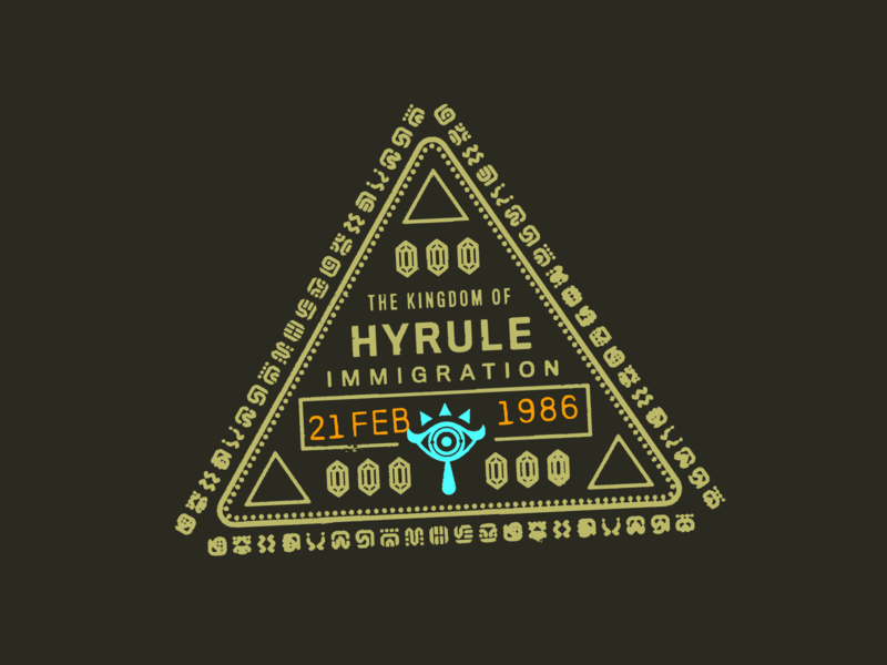 Passport to Hyrule – Warmup #10 type badges logo vector illustration dribbbleweeklywarmup badge design branding stamp rupees triforce sheikah passport hyrule legend of zelda