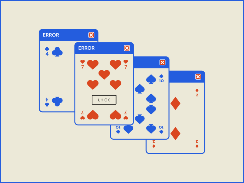 Playing Cards XP – Warmup #11 ux ui vector error illustration design pop up playing cards windows xp cards dribbbleweeklywarmup