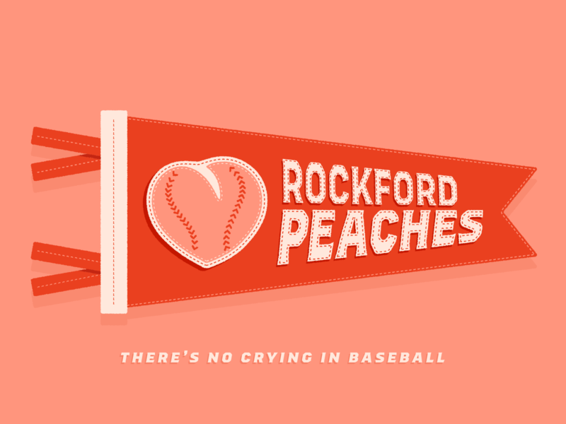 Rockford Peaches - Warmup #21 type typography vector design stitch illustration sports flag movie rockford peaches peach dribbbleweeklywarmup pennant baseball a league of their own