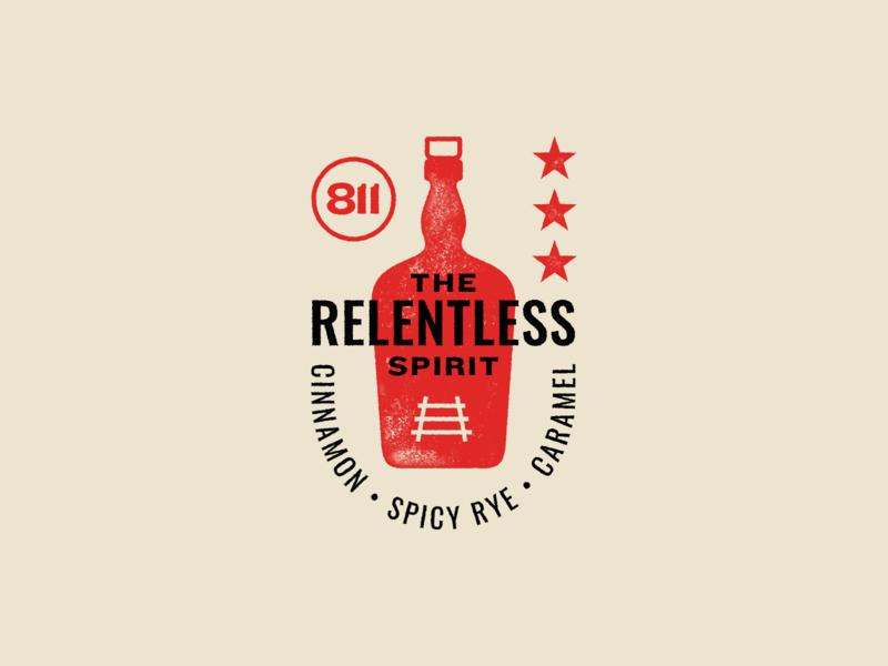 The Relentless Spirit kansas city typography icon illustration vector design logo branding star badge train rye whiskey