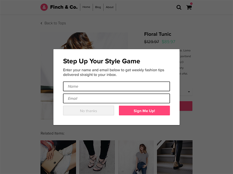 #016: Popup / Overlay form ecommerce optin signup overlay popup dailyui016 dailyui 016
