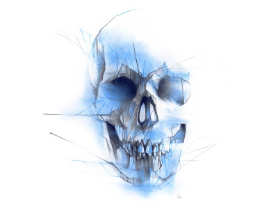 Blue Skull skull art softpastel unisoncolour lines geometric skull