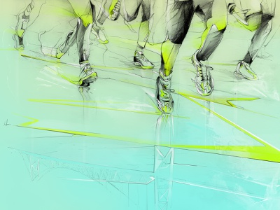 21K Marathon circuito geometric art shoes illustration 21k marathon