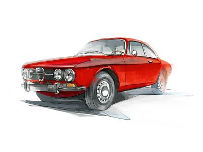 Alpha Romeo 1750 GTV car design copic markers drawing illustration
