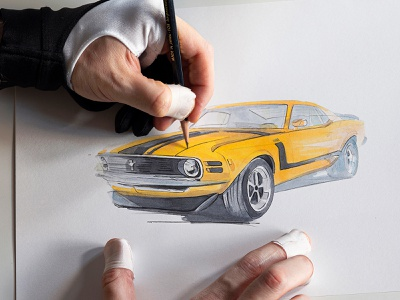 Ford Mustang Boss 302 for Car And Driver copicmarkers caranddriver pencil drawing illustration