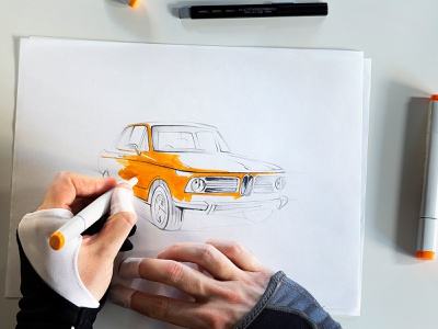 BMW 2002 for Car And Driver copicmarkers pencil drawing illustration