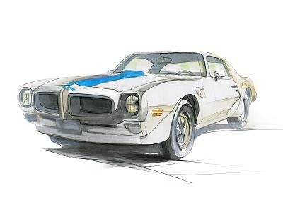 Pontiac Firebird copicmarkers cardesign pontiac pencil drawing illustration