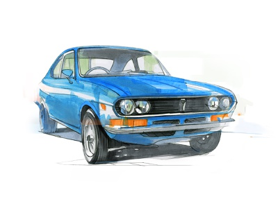 Mazda RX 2 coupe copicmarkers cardesign pencil drawing illustration