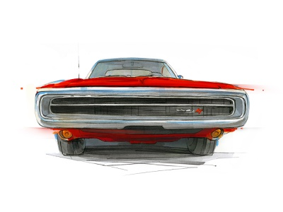 Dodge Charger copicmarkers adobe design pencil drawing illustration