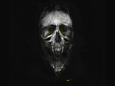 Freak Show Skull for Nike watercolor pencil skull halloween