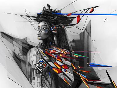 ORIGIN feminine culture graphite pencil drawing illustration