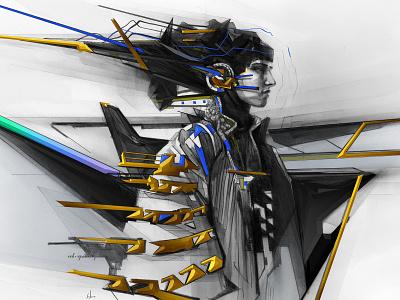 ORIGIN fashion culture design pencil drawing illustration