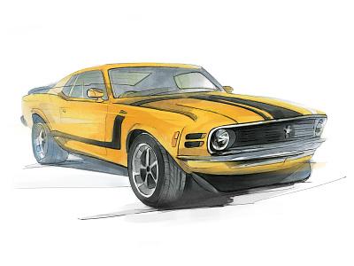 Mustang Boss 302 markers pencil drawing illustraion caranddriver mustang