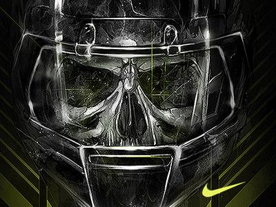 NIKE DOMINATOR nike dominator swoosh skull football illustration wacom design drawing adobemax adobe