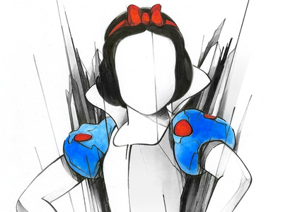 Snow White dress girl line art pop-art illustration pencil snow-white