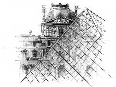 Derwent Percision packaging illustration drawing derwent louvre