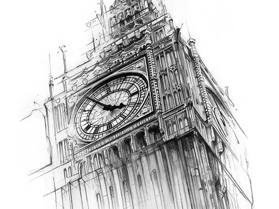 Big Ben sketch precision derwentpencils pentagram london drawing illustration big ben