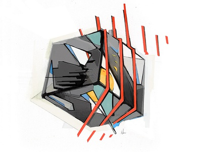 Estranged Cube textile abstract adobe pencil illustration