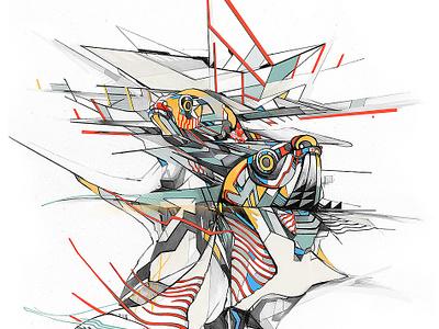 Estranged geometric design illustration koifish
