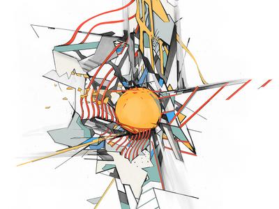 Estranged Orb abstract adobe pencil drawing illustration orb