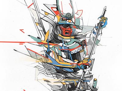 Estranged Samurai drawing pencil illustraion samurai