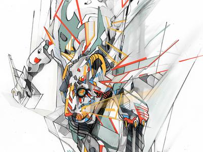 Estranged Leopard design pencil drawing illustration leopard