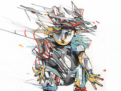 Estranged Ino graphite drawing design pencil illustration
