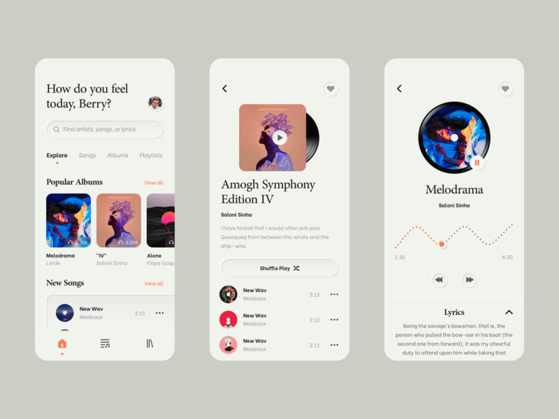 Music App Concept clean interface digital ui ui ux player skeuomorphism iphone minimal store music mobile app mobile ui mobile music player music app design app application