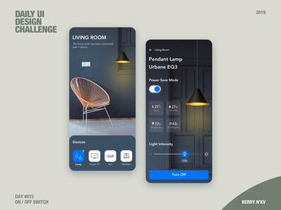 Daily Ui / Day 15 - On Off Switch day 15 100days 100 days of ui 100 daily ui ui design ux ui simple clean interface simple interface interaction smart home smarthome home lighting lighthouse light on off on off switch ai