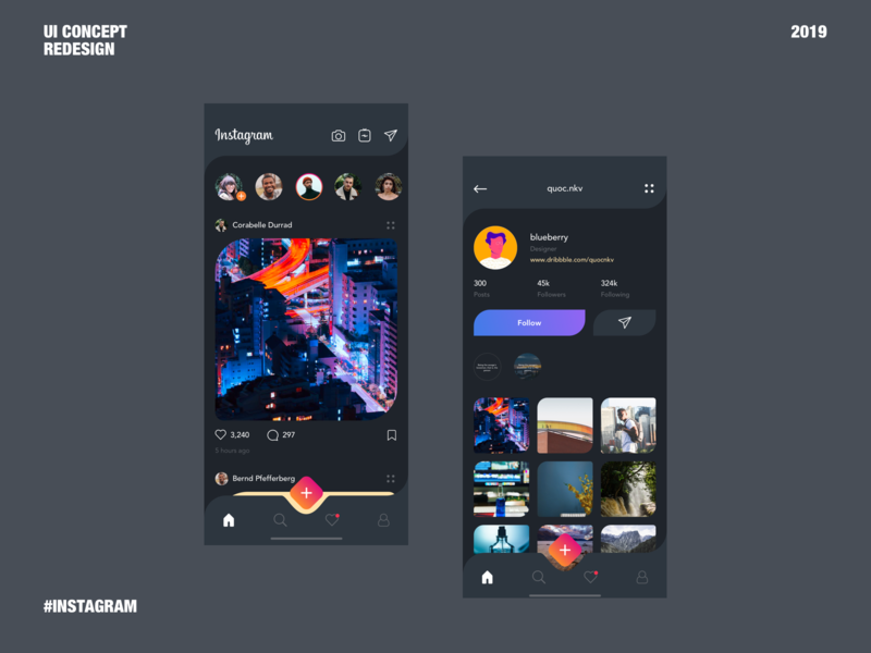 Instagram UI Redesign dark mode dark app dark ui ui app ui app design app ux concept instagram concept instagram redesign instagram ui redesign instagram popular interaction design web design web ui uidesign dribbble