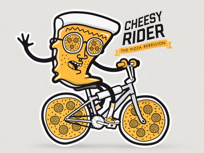 Cheesy Rider - Shirt Design pizza characterdesign character shirtdesign t-shirt fashion