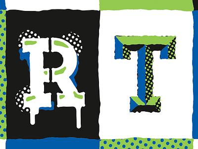 Detail von Birthday Card type illustration halftone typography letters birthday
