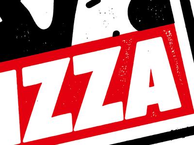 Pizza art print, Linocut style obey artprint dirt grunge texture print analogue letterpress linocut