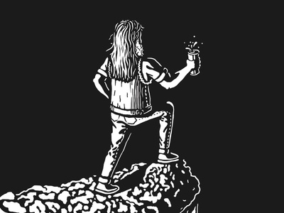 Beer on the rocks artwork dark light illustration metal beer