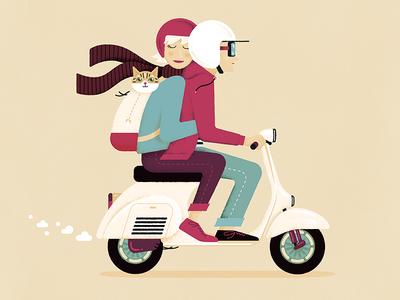 A couple, a cat, a Vespa gigposter poster artprint print scalable vector illustration digital scooter vespa