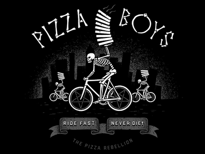 Pizzaboys - RIDE FAST, NEVER DIEt bicycle singlespeed fixed fixie bike biker death illustration pizzaart pizzaboy pizza