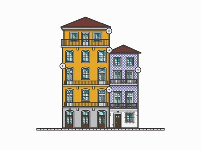 River Houses // City of Porto river houses porto building illustration