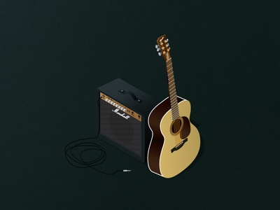"""Acoustic covers"" marshall illustration design isometric covers acoustic guitar graphic poster communication"