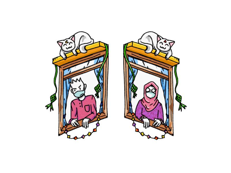 Raya / Eid - Covid19 style ketupat hari raya celebrate cat window corona covid19 raya2020 eid raya