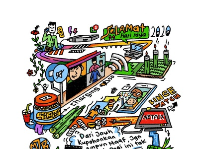 Digital Kad Raya 2020 lineart outline drawing malaysian doodle illustration card design ketupat lemang village kampung corona covid19 raya 2020 digital card kad raya card