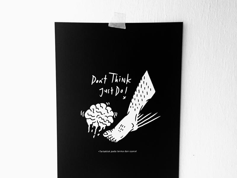 Don't Think, Just Do wacom feet brain drawing doodle illustration