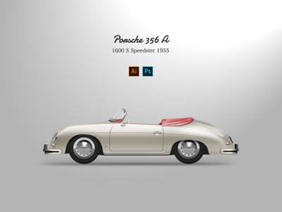 PORSCHE 356 A vektor car spor racing illustration touring grand
