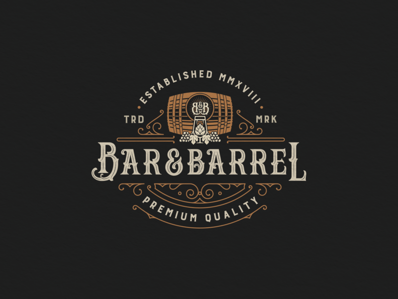 Bar&Barrel beer wine barrel typography branding vector illustration logo