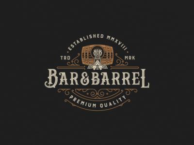 Bar&Barrel vintage logo print beer wine barrel typography branding vector illustration logo
