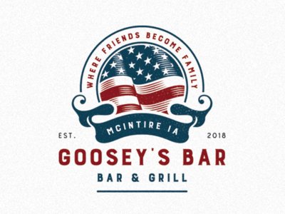 Goosey's Bar american flag typography branding vector illustration logo