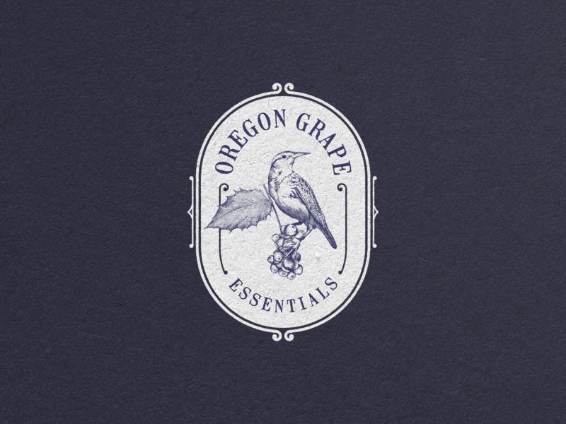 Oregon Grape print vector typography illustration vintage logo rustic bird grape oregon classic vintage hand drawn