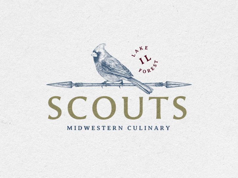 Scouts prints branding print vector logo vintage hand drawn restaurant arrow