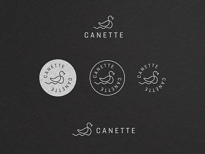 Canette print vector duckling logo branding vintage minimal