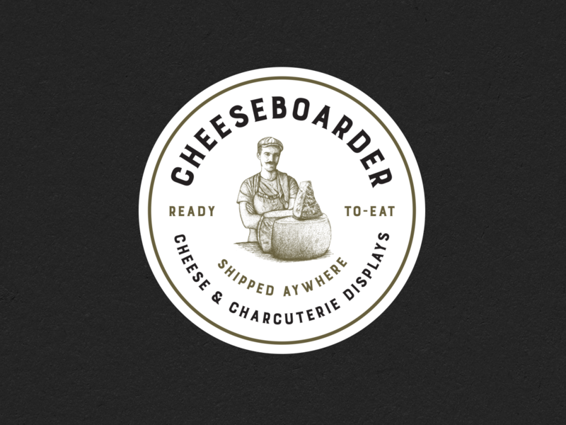 Cheese typography branding print hand drawn logo vintage illustration charcuterie cheese