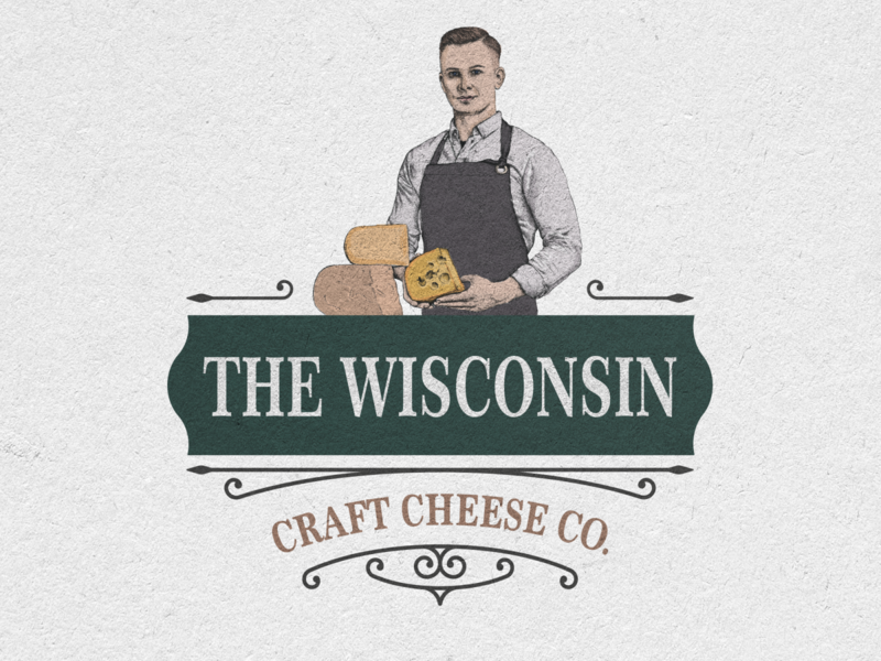The Wisconsin Craft Cheese Logo vector illustration print vintage logo hand drawn wisconsin cheese craft